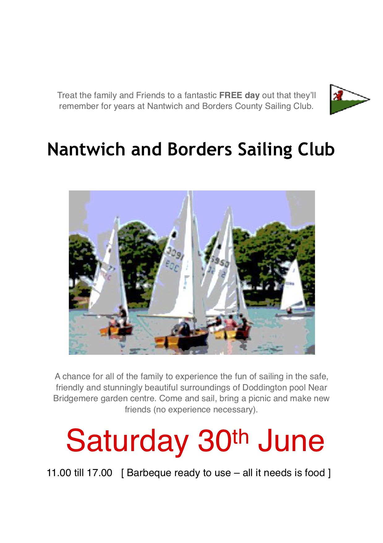 Family And Friends Day 30 June Nantwich Sailing Club