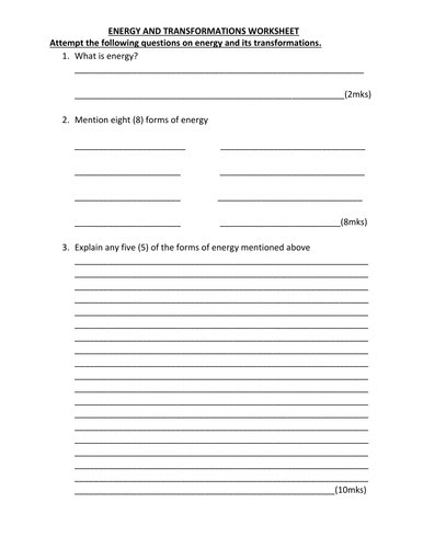 Introduction To Energy Worksheet  Ace Energy