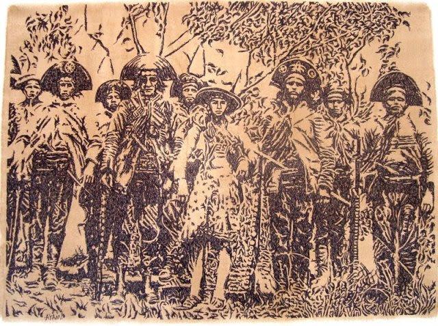 Papel cartão, caneta espefrográfica e betume dão forma à filisminogravura, técnica original de Ayam U'Brais