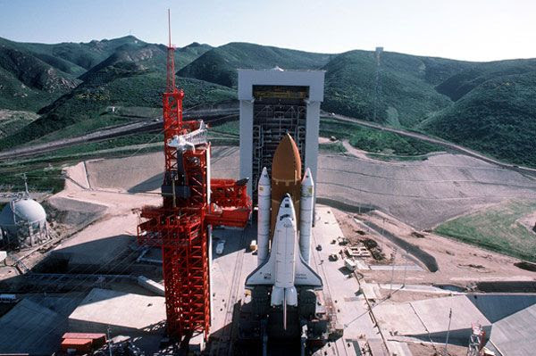 Space shuttle Enterprise sits atop its SLC-6 launch pad at Vandenberg AFB in California.