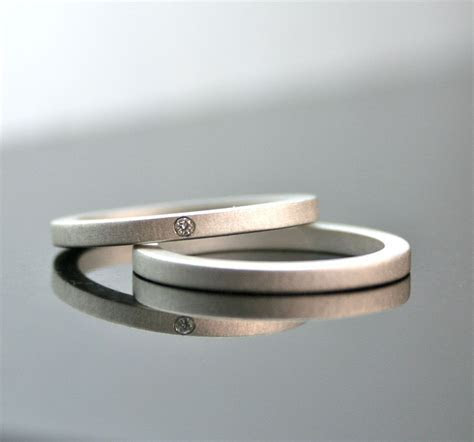 One Tiny Diamond Ring Set Simple Wedding Rings Sterling