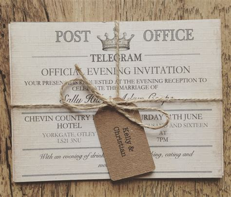 SAMPLE   Vintage Travel Wedding Invitation,Telegram