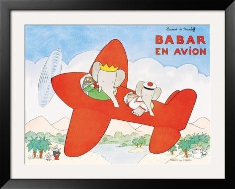 Babar en Avion Framed Art Print