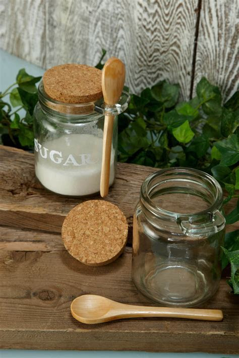 """Glass Jar with Wooden Spoon 4"""", 8.5oz"""