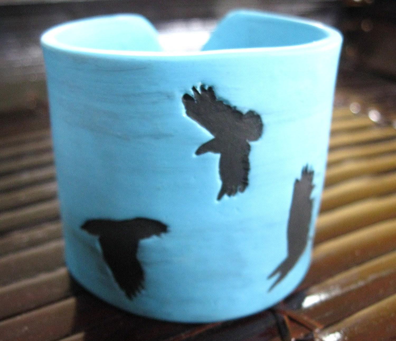 Turquoise cuff bracelet , black crow, bird design, handmade jewelry by theshagbag on Etsy