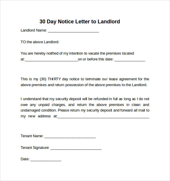 Notice Letter To Landlord Template Example Of Letter To