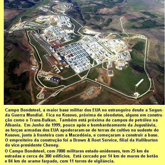 Camp Bondstell, no Kosovo, a maior base militar dos EUA.