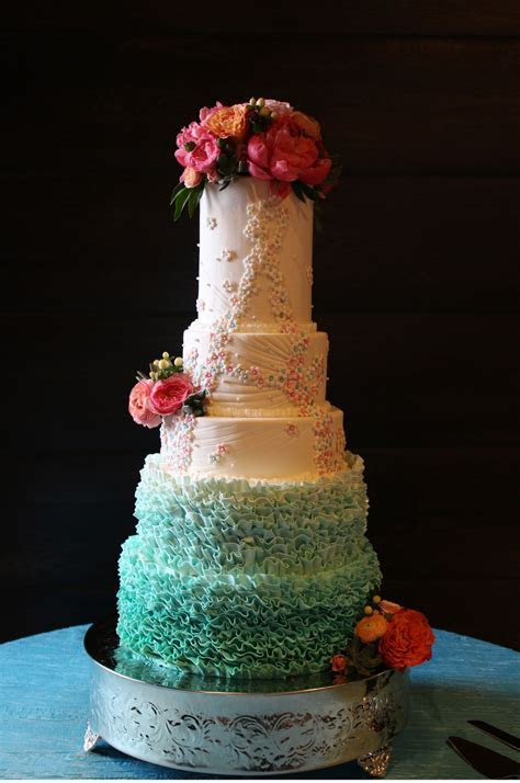 5 Tier Ombre Ruffles And Handmade Sugar Flower Cake For