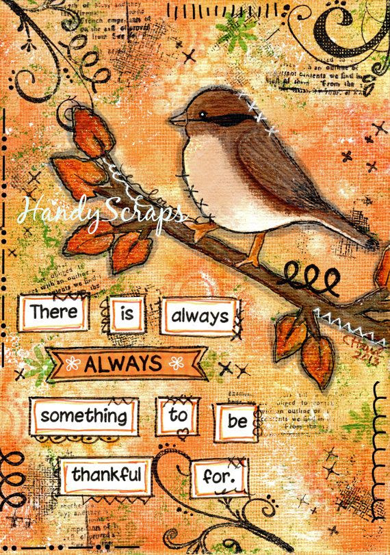 Thankful - Mixed Media Art Original - love the colours