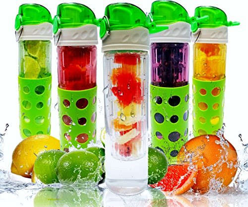 Fruit Infuser Water Bottle - Premium Borosilicate Glass - BPA Free - Leak Resistant Design - Silicone Sleeve - Ideal for Outdoors, Gym, Yoga, Camping and Office