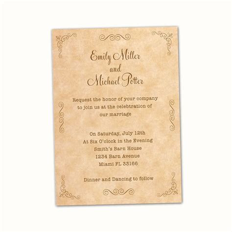 100 Personalized Wedding Invitation Cards Vintage Rustic
