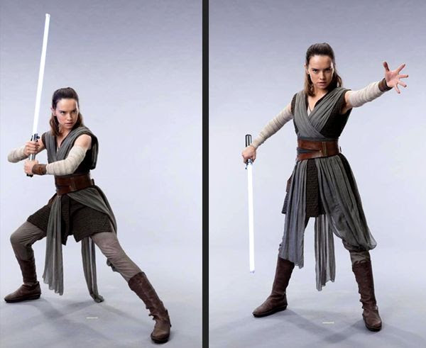 Two promo pics of Rey (Daisy Ridley) in her new hairdo and outfit for STAR WARS: THE LAST JEDI.