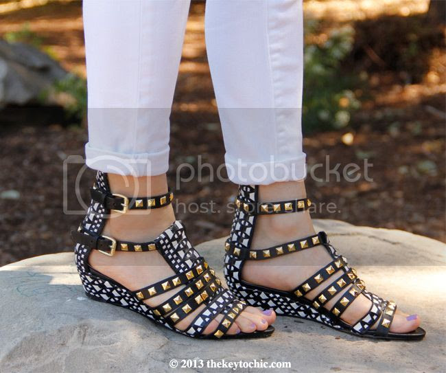 Zara studded tribal wedge sandals