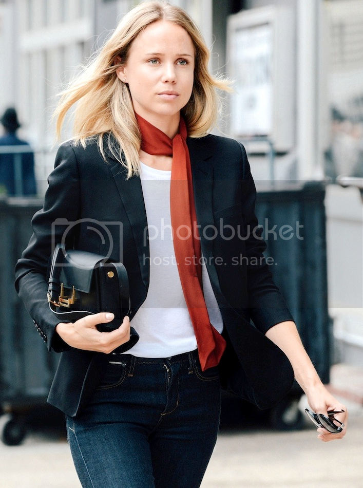 Le Fashion Blog New York City Street Style Elin Kling Red Skinny Silk Scarf White Tee Blazer Saint Laurent Lulu Bag Jeans photo Le-Fashion-Blog-New-York-City-Street-Style-Elin-Kling-Red-Skinny-Silk-Scarf-White-Tee-Blazer-Saint-Laurent-Lulu-Bag-Jeans-1.png