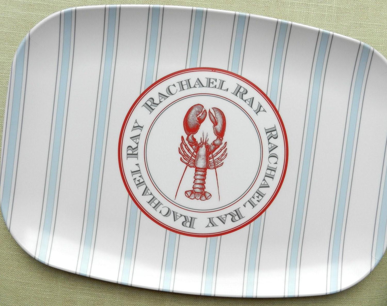 Ticking Stripe Melamine Platter: Lobster