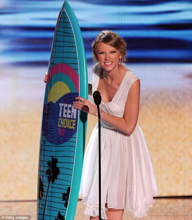 Floaty in white: Taylor Swift swept the board at the Teen Choice Awards in Los Angeles tonight, winning five gongs