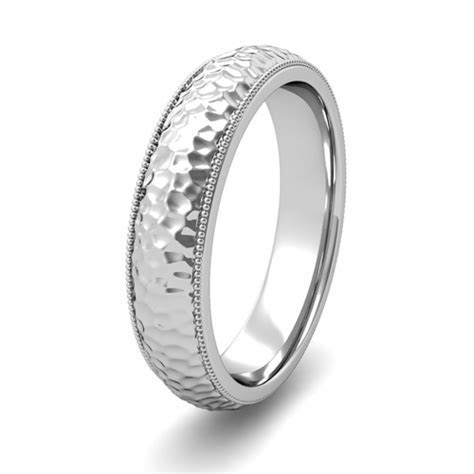 Mens Hammered Finish Wedding Band in 14k Gold Comfort Fit