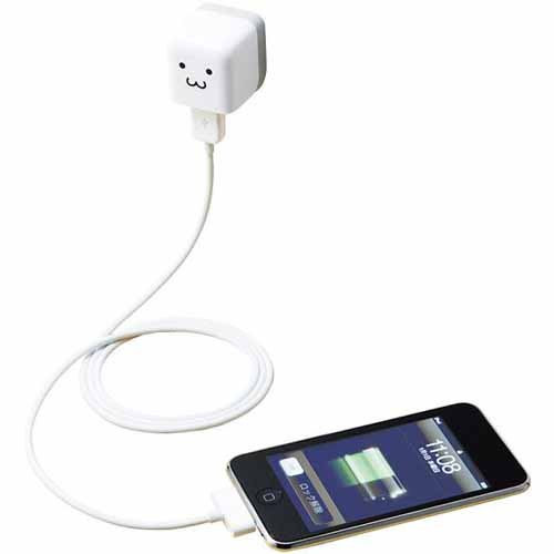 ELECOM iPod/iPhone5/4S/4/3GS/3G 対応 AC充電器 cube型 USB FACE AVA-ACU01F1