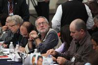 Javier Sicilia durante la reunión. Foto: Eduardo Miranda