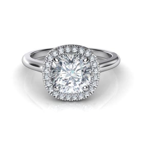 Plain Shank Floating Halo Cushion Cut Diamond Engagement