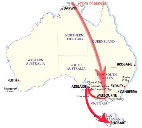 malaysia - melbourne - adelaide - tasmania