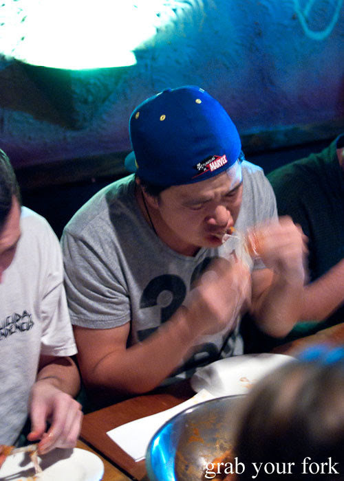 Hot Wings eating competition at The Dip, Good God Small Club, Sydney