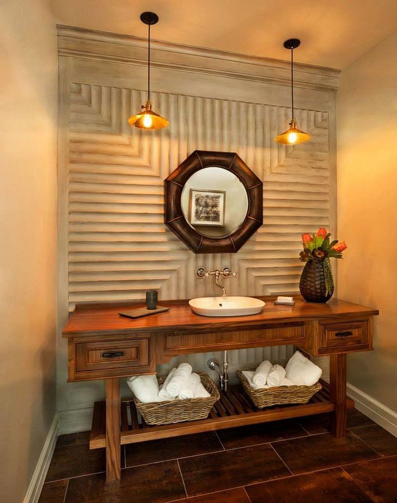 Hot Summer Trend: 25 Dashing Powder Rooms with Tropical Flair - Chinese Wall Shelves Google Search Living Room Ideas Chinese Tea Room,Chinese Interior