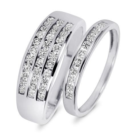 7/8 Carat T.W. Diamond His And Hers Wedding Rings 10K
