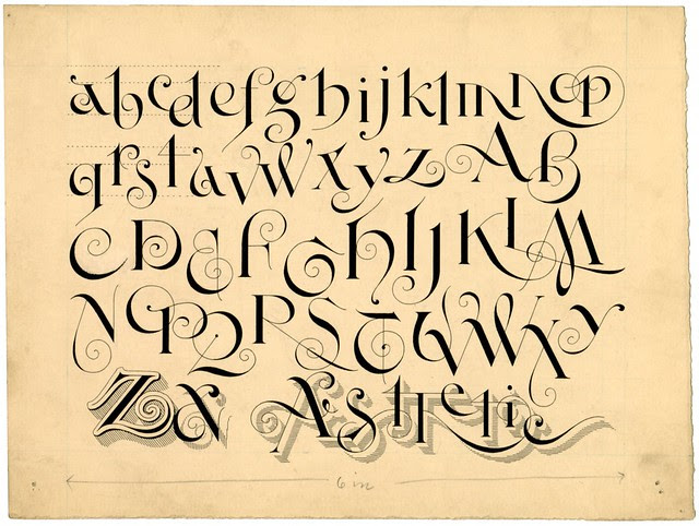 original ink sketch of Aesthetic Text alphabet