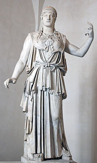 "Marble Greek copy signed ""Antiokhos"", a first century BC variant of Phidias' fifth-century Athena Promachos that stood on the Acropolis"