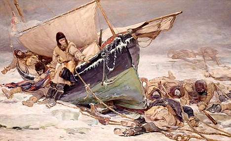 A painting of Sir John Franklin and crew dying by their ice-bound  boat