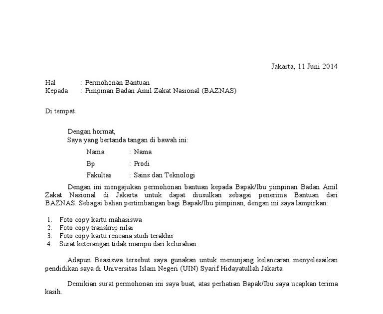 Contoh Surat Permohonan Beasiswa Baznas Agam