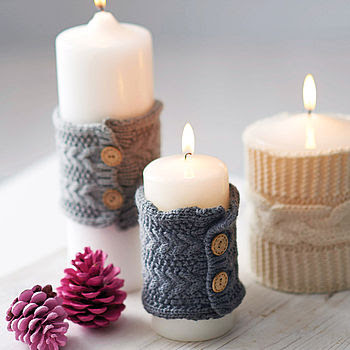 Knitted Christmas Candle Cosy