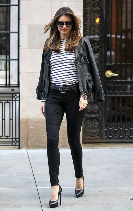 Le Fashion Blog Two Ways Miranda Kerr Stripes Leather NYC Black Fringe Jacket Sunglasses Striped Long Sleeve Tee High Waist Skinny Black Jeans Saint Laurent Janis Platform Heels Red Lipstick 2014 1 photo Le-Fashion-Blog-Two-Ways-Miranda-Kerr-Stripes-Leather-NYC-Fringe-Jacket-2014-1.jpg