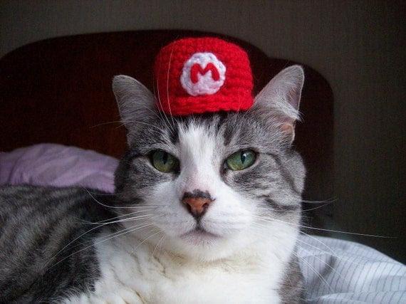 Super Mario Bros Hat For A Cat, Crochet Cat Costume