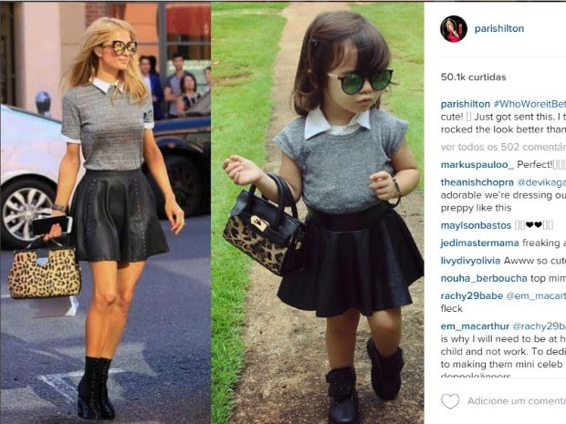 Paris Hilton publicou foto de Alice em rede social (Foto: Reprodução/ Instagram)