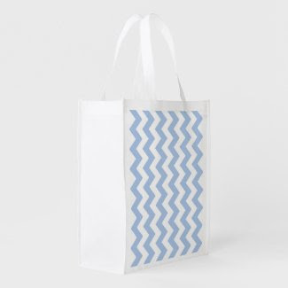 Light Blue and White Zigzag Grocery Bag