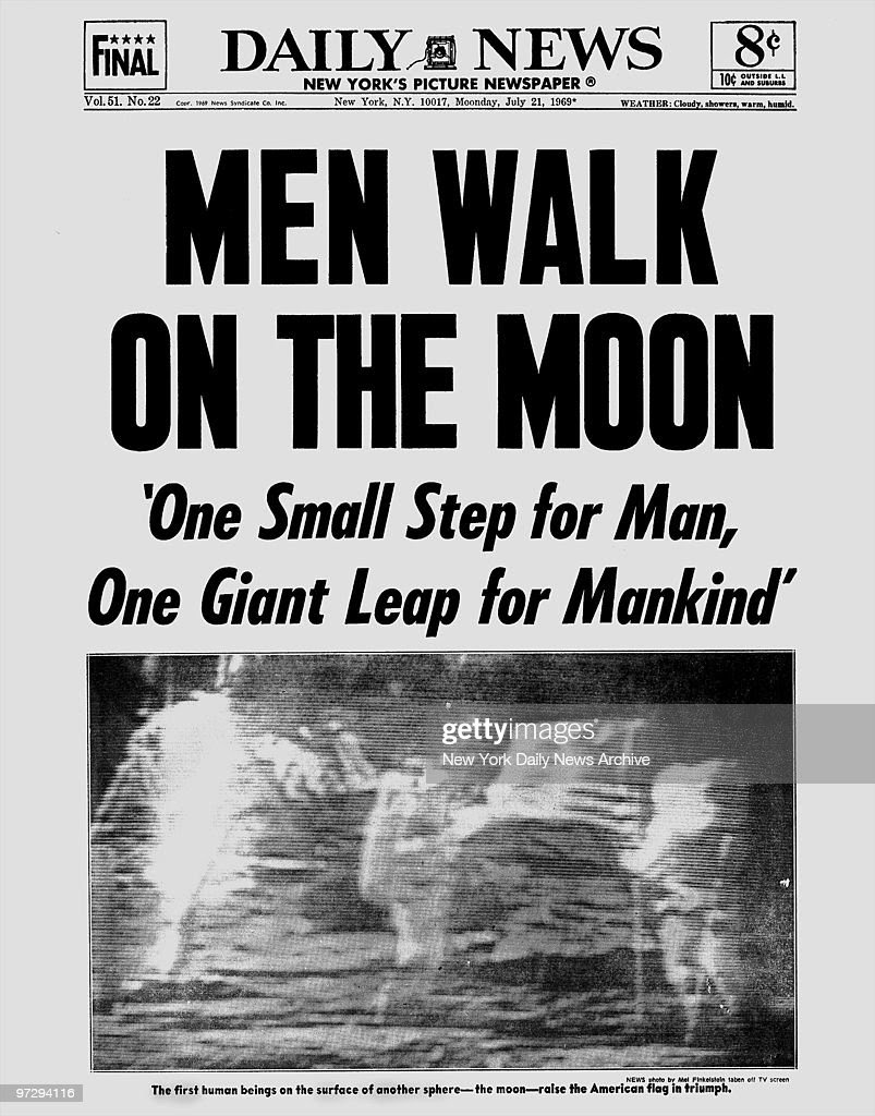 Daily News front page dated July 21, 1969, Headlines: MEN WA ...