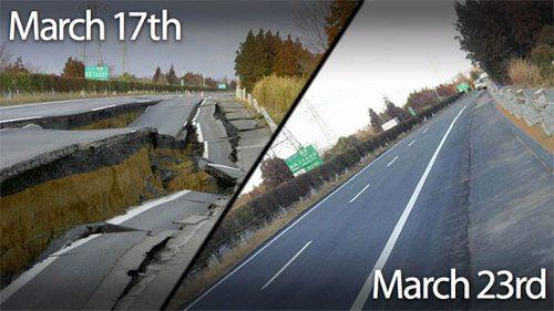 Ingenieros japoneses reparan una autopista destruida en 6 días