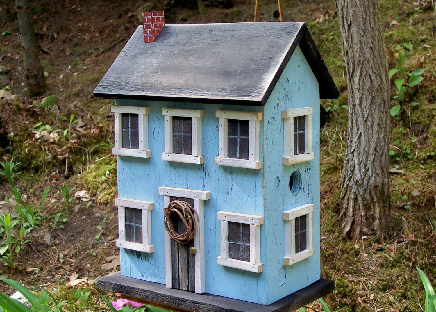 Folk Art Rustic Country Primitive Saltbox Home Decor Garden  Birdhouse