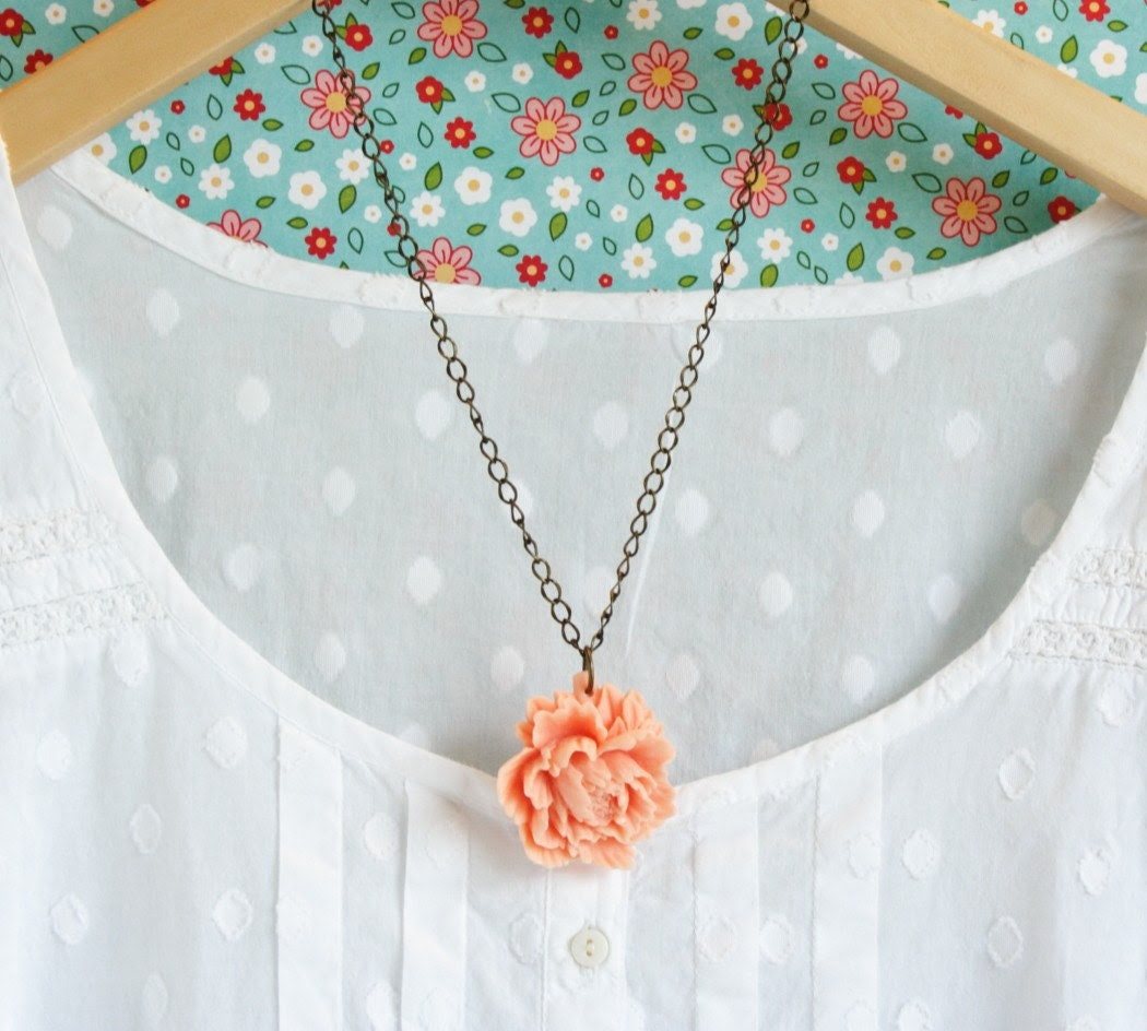 SUMMER SALE REDUCED 25% - Simple Peach Peony Floral Necklace