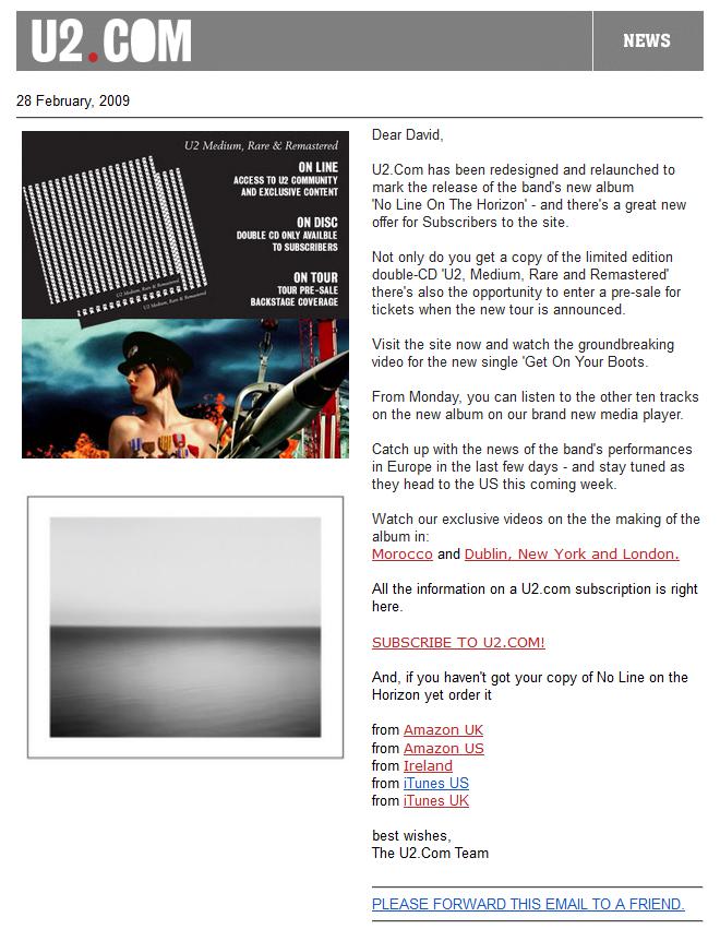 Email Design - U2 example 2