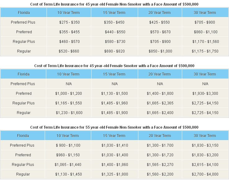 Term Life Insurance Costs