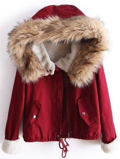 Red Fur Hooded Long Sleeve Drawstring Coat pictures