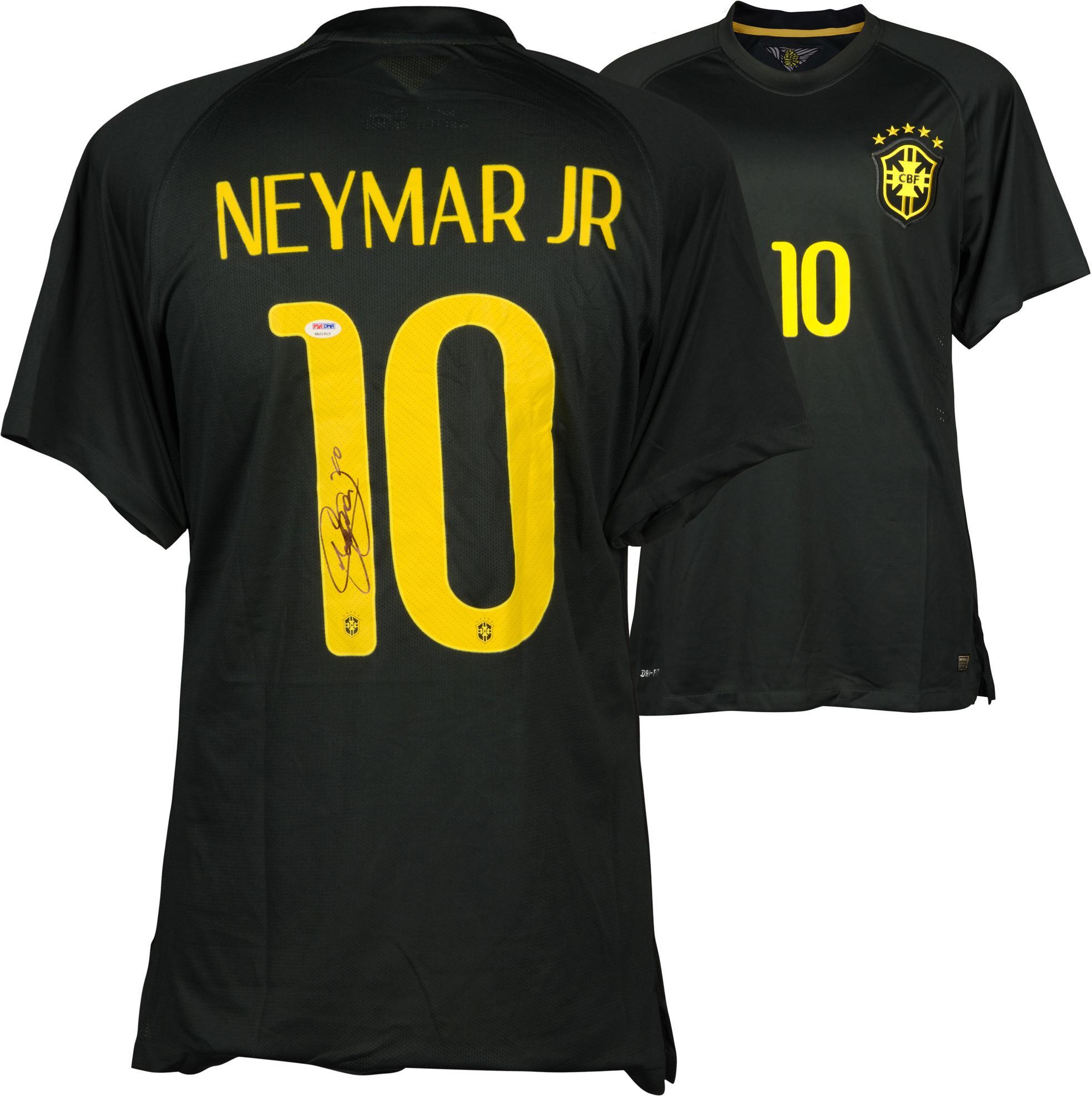 Neymar Santos Brazil National Team Autographed Black Jersey