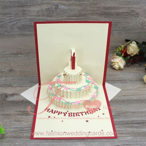 3D Pop Up Handmade Birthday Cake Shape Greeting Cards