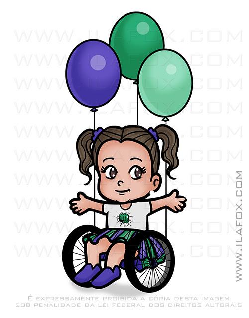 caricatura fofinha, caricatura menina em cadeira de rodas, caricatura criança, ila fox