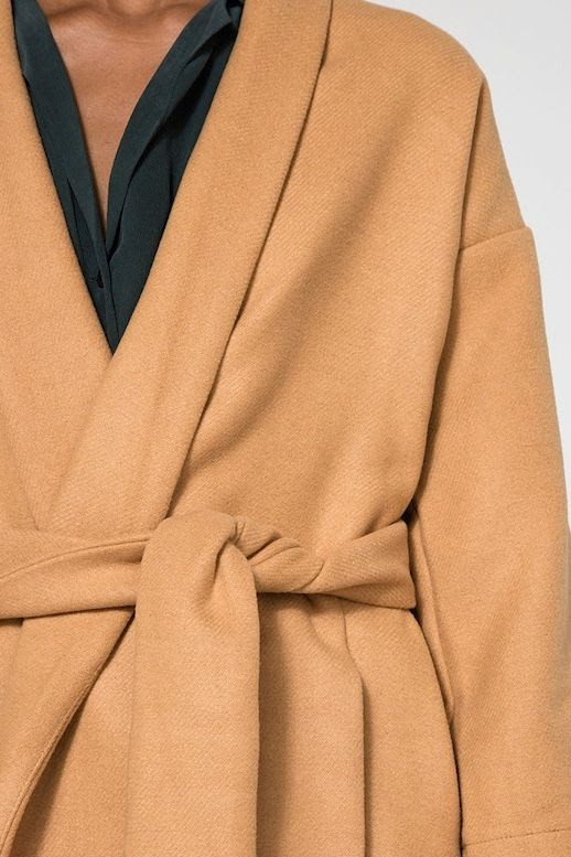 Le Fashion Blog Fall Style Long Farrow Belted Camel Robe Jacket With Shawl Collar Button Down Blouse Via Need Supply Co