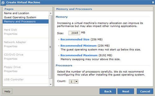 New Virtual Machine Wizard Memory And Processors