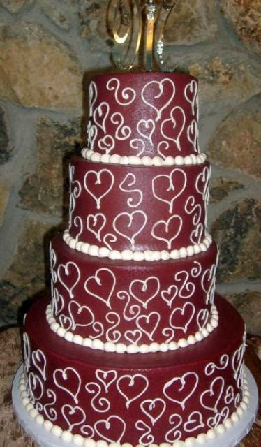 Four tier maroon wedding cake